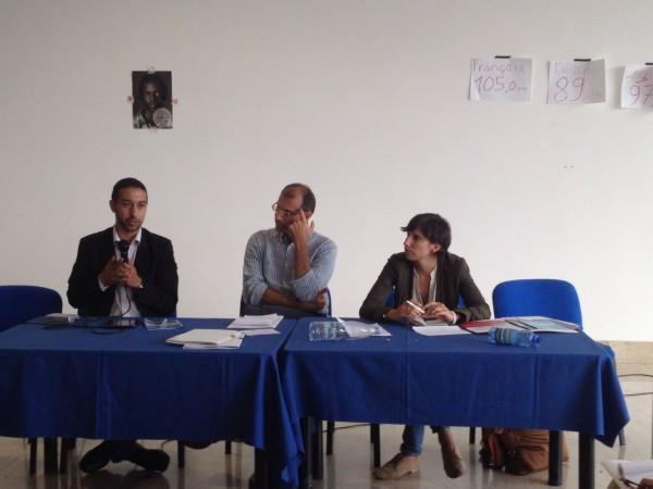 Khalid Chaouki (PD), Andrea Stocchiero (Focsiv) e Elly Schlein (Parlamento europeo, PD) al festival Sabir di Lampedusa